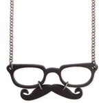 mustache glasses necklace